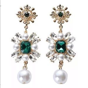 🆕Faux Pearl Rhinestone Crystal Stud Drop Earrings